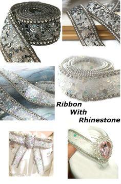 #RibbonRhinestone #RibbonEmbellishments Sparkle Crystal Trim Chain Belt #WeddingAccessory Bridal #DressesApplique #RibbonShoes #ChainRhinestone , 3,5cm