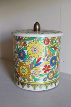Vintage Embossed Floral Tin, Round Floral Tin, Tin Made in Holland, Vintage Floral Tin by TomatoFarmVintage on Etsy