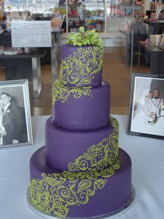 Pretty, elegant, lime green and purple wedding cake. Sugar and Spice ...