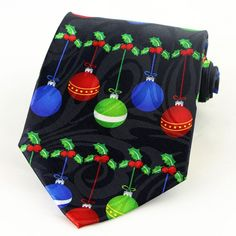 Christmas Balls & Holly Berries Mens Necktie Holiday Ornaments Black Neck Tie #StevenHarris #NeckTie