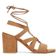 Sandales à talon carré beige