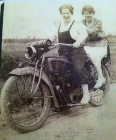 My friend Sandy Connell's Great Grandmother, Gracie with her sister Effie on a 1920's Excelsior Motorcycle.