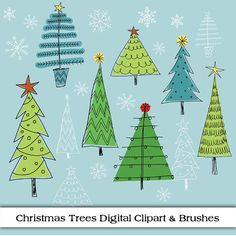 Christmas Tree Digital Clipart Doodle Sketches of by ColorsonPaper, $4.50