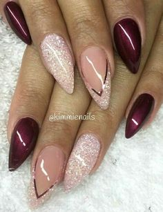 and Beautiful Nail Art Designs Sexy Nails, Fancy Nails, Stiletto Nails, Trendy Nails, Love Nails, Pink Nails, Glitter French Manicure, Nail Manicure, Nail Polish