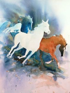 """Running Before the Storm"" original watercolor horse painting by Anne Michelsen"