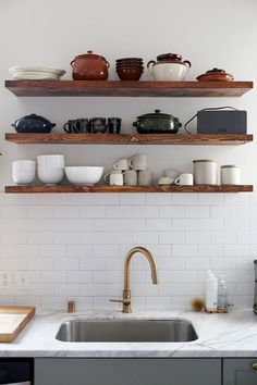 Exposed shelves