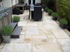 Indian Sandstone: Sample laid patio using our quality Indian Sandstone paving Outdoor Paving, Garden Paving, Terrace Garden, Garden Slabs, Garden Fun, Garden Path, Garden Ideas, Backyard Patio, Backyard Landscaping