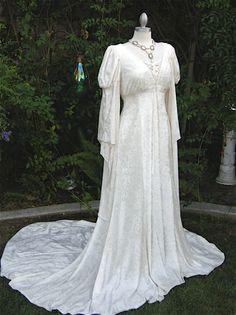 Isadora Stretchy Velvet Medieval Wedding Gown - (romanticthreads)