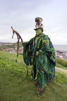 Simon Costin, Director of the Museum of British Folklore, dressed for the Jack in the Green Festival, Hastings