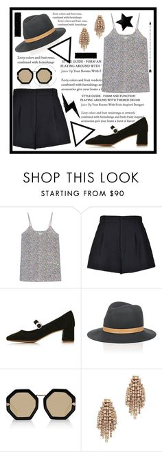 """""""suggested items"""" by ghenwahaddad ❤ liked on Polyvore featuring RED Valentino, Topshop, Janessa Leone, Karen Walker and Elizabeth Cole"""