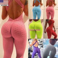 Women Jumpsuit Rompers Workout Bodysuit For Sport Yoga Gym Fitness Suit Fashion Asos Jumpsuit, Fitted Jumpsuit, Workout Bodysuit, Workout Jumpsuit, Backless Playsuit, Romper Suit, Gym Clothes Women, Legging Outfits, Leggings Fashion
