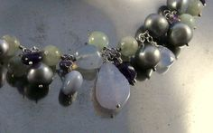 Necklace with amethyst, calcedony, agath and drusy on fine silver wire.