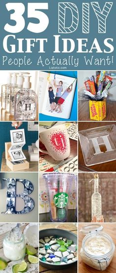 35 easy DIY gift ideas for birthdays and holidays throughout the year.
