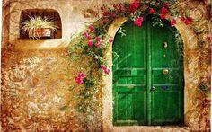 Green Door with tan walls