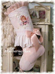 Vtg-Linen-Lace-CHRISTMAS-STOCKING-Brundage-Fairy-PINK-ROSE-Cottage-Shabby-CHIC