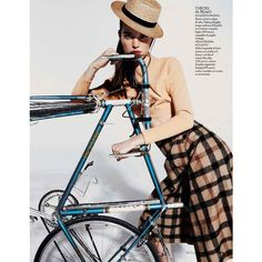 Britt Bergmeister Bikes Into Fall, Lensed By Mark Pillai For Elle... ❤ liked on Polyvore featuring people and bicycles