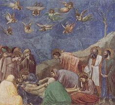 4. The implied lines are towards the man lying on the ground. All of the people and angels in the sky are looking towards him. It helps me understand that this picture is probably of Jesus after he has died or when he is about to die. It shows that they are concerned about what is going on.