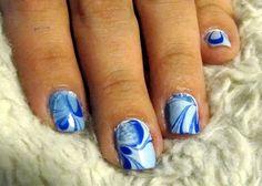 Black Nail Designs: Light And Dark Blue Marble Nail Ideas ~ Nail Colors Inspiration