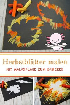 Blätter mit Kreide malen Paint quick fall pictures with kids and toddlers. For a beautiful fall deco Diy Crafts To Do, Crafts For Teens To Make, Fall Crafts For Kids, Diy For Teens, Easy Crafts, Paper Crafts, Chalk Crafts, Cardboard Crafts, Spring Crafts