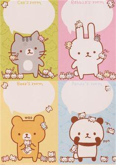"""""""mini mini"""" cute colorful bunny cat panda bear animal block Note Pad by Q-Lia"""