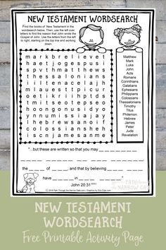 Need a quick activity for a Sunday School class, Bible class, or homeschool? This FREE printable New Testament Wordsearch is a perfect solution - great for kids in fifth grade or older. Bible Activities For Kids, Bible Crafts For Kids, Bible Study For Kids, Bible Lessons For Kids, Bible Games, Church Activities, Sunday School Crafts For Kids, Sunday School Activities, Sunday School Lessons
