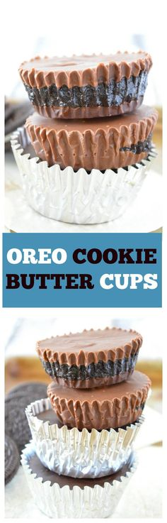 OREO COOKIE BUTTER CUPS - no-bake homemade milk chocolate cups stuffed with creamy homemade Oreo cookie butter!