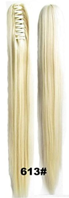 Beauty Wig World 20inch 50cm 100g Long Straight Woman Claw Clip Ponytail Clip on/in Hair Extensions - #613 bleach blonde by Ponytails -- Awesome products selected by Anna Churchill