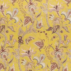 Uhura Fabric - An eye-catching printed fabric with a delicate stylised floral design with Chinoiserie influence. Shown in multi colours on a yellow ground.