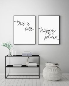 This Is Our Happy Place Printable Sign Set, Home Decor Prints, Above Bed Wall Art, Minimalist Signs, - All About Decoration Above Bed Decor, Bedroom Art Above Bed, Bedroom Prints, Bed Wall, Home Design, Design Ideas, Living Room Decor, Living Room Prints, Home Decor Wall Art
