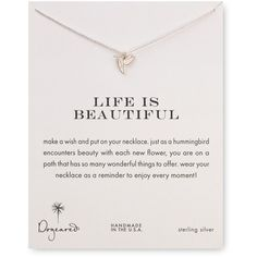 """Dogeared Life is Beautiful Pendant Necklace, 18"""" (190 ILS) ❤ liked on Polyvore featuring jewelry, necklaces, fillers, accessories, extra, silver, dogeared necklace, pendants & necklaces and dogeared jewelry"""