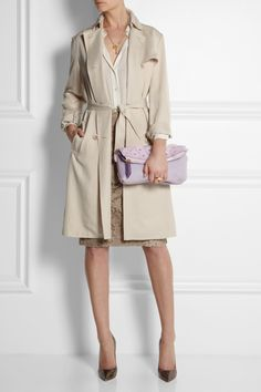 Burberry Prorsum clutch, Vanessa Bruno coat, Monica Vinader necklace, Stella McCartney necklace, Equipment top, Maison Martin Margiela ring, Burberry London skirt, J...