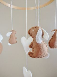 Bunny Rabbit and Hearts Felt Baby Mobile for Boy or Girl in Fawn Brown and Creamy White