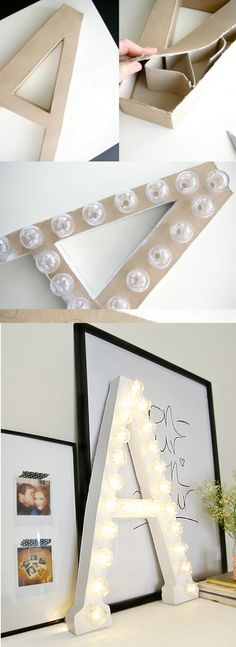 DIY marquee letters... LED Christmas light strand, white pingpong balls instead of those expensive strands of lights that cost a mint!