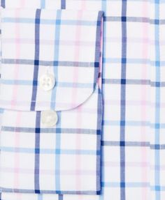 Club Room Men's Big & Tall Classic/Regular Fit Pink Lilac Check Dress Shirt, Only at Macy's - Purple 17.5 37/38