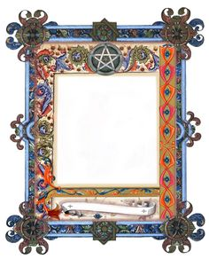 Illuminated Pentacle border page by Grim, scrapbook, art journal, Book of Shadows