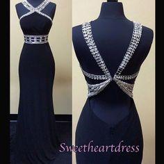 Unique design elegant open back black chiffon sequins prom dress, ball gown, evening dress 2016