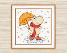Hippo Cross Stitch Pattern PDF funny pattern by TimeForStitch