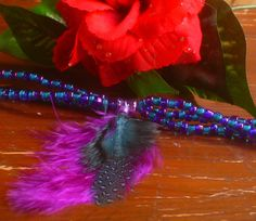 Teal Purple Beaded and Feather Bracelet by ElementalKarma on Etsy, $15.00