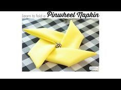 A quick and easy video tutorial on how to fold napkins into a pinwheel shape. This pinwheel napkin fold trick works with cloth or paper napkins.