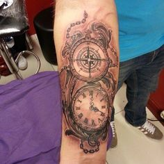 compass pocket watch tattoo - Google Search