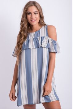 Perfect for any BBQ or night out watching Fireworks! Free Shipping https://www.islandgirlhhi.com/collections/women-dresses/products/cold-shoulder-ruffle-dress