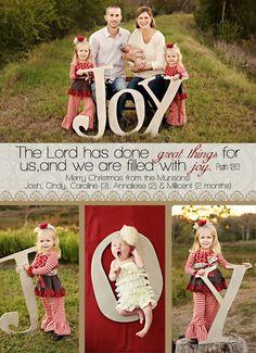 JOY! Photo Session Ideas   Props   Prop   Child Photography   Clothing Inspiration  Fashion   Pose Idea   Poses   Christmas Card   Oversized Letters   Christmas