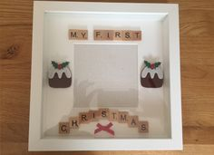 A personal favourite from my Etsy shop https://www.etsy.com/uk/listing/471553870/my-first-christmas-frame