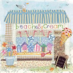 Beaches & Cream - Handmade Cards from Abigail Mill Embroidery Raw Edge Applique, Fabric Cards, Fabric Pictures, Sewing Appliques, Mini Quilts, Textiles, Textile Artists, Machine Embroidery, Embroidery Ideas