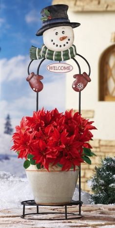 "Snowman Flower Pot Holder Welcome Decoration - Snowman head with ""welcome"" sign gives this holder a dash of holiday charm. $14.99 $10.97    Link    #Christmas"