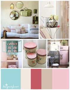 Vintage - Rustic Farmhouse Accessories & Colors. Cream, beige,  mint blue, pink and red