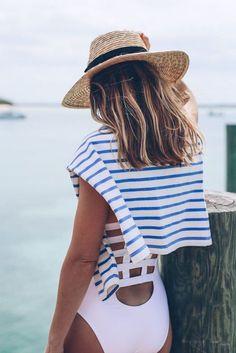 one piece, stripes & straw hat #summer #swim #ocean