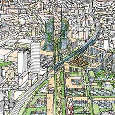 Elephant & Castle - Il Masterplan di Foster, Tibbalds TM2, Gehl Architects e Space Syntax - Londra, Reino Unido - 2002