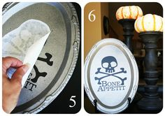 bone appetite tray - dollar store tray turned into fun Halloween decorations