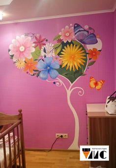 Роспись стены для ребенка.